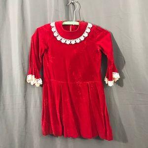 Vintage 1950s Child's Red Velvet Dress 6